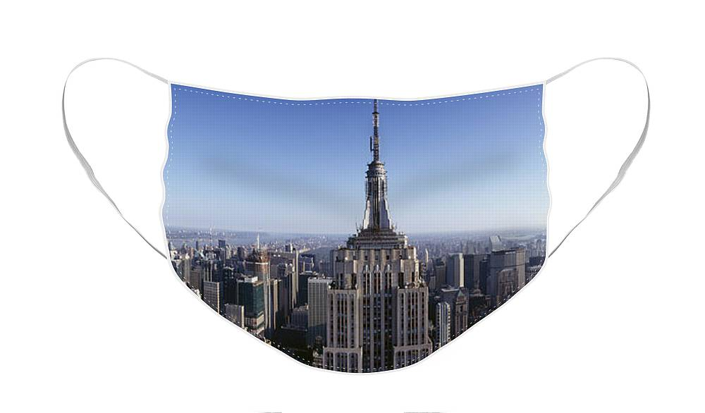 Photography Face Mask featuring the photograph Aerial View Of A Cityscape, Empire by Panoramic Images