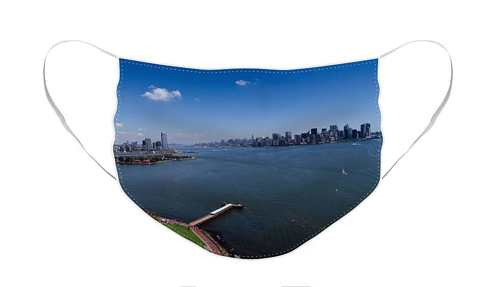 Photography Face Mask featuring the photograph Aerial View Of A Statue, Statue by Panoramic Images
