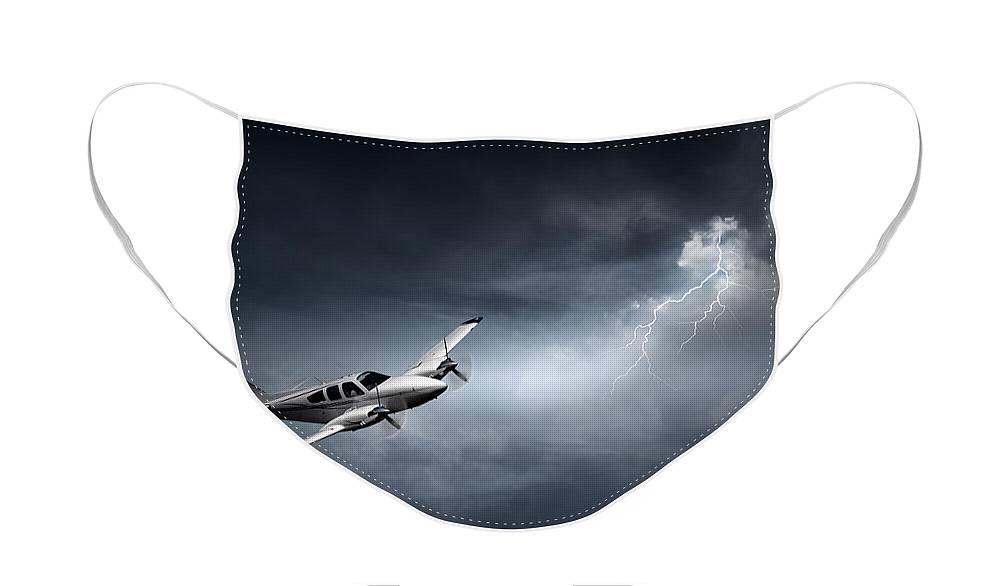 Aeroplane Face Mask featuring the photograph Risk - Aeroplane in thunderstorm by Johan Swanepoel