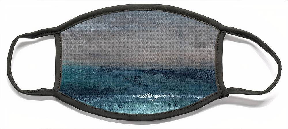 Abstract Landscape Face Mask featuring the painting After The Storm- Abstract Beach Landscape by Linda Woods