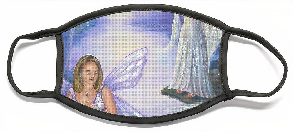 Fairies Face Mask featuring the painting Alyssa and Victoria by Anne Kushnick