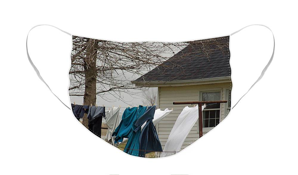 Clothesline Face Mask featuring the photograph Amish Washday - Allen County Indiana by Suzanne Gaff