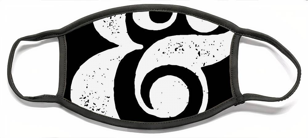 Ampersand Face Mask featuring the digital art Ampersand Poster Black by Naxart Studio