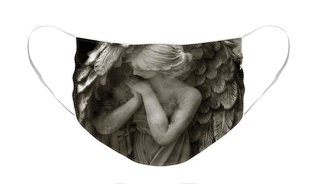Angels Face Mask featuring the photograph Angel Photography Spiritual Angel - Guardian Angel In Prayer - Angel Praying by Kathy Fornal