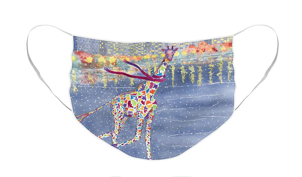 Giraffe Face Mask featuring the painting Annabelle on Ice by Rhonda Leonard
