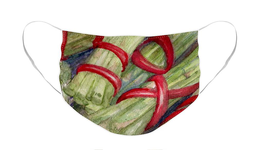 Elle Fagan Face Mask featuring the painting Asparagus by Elle Smith Fagan