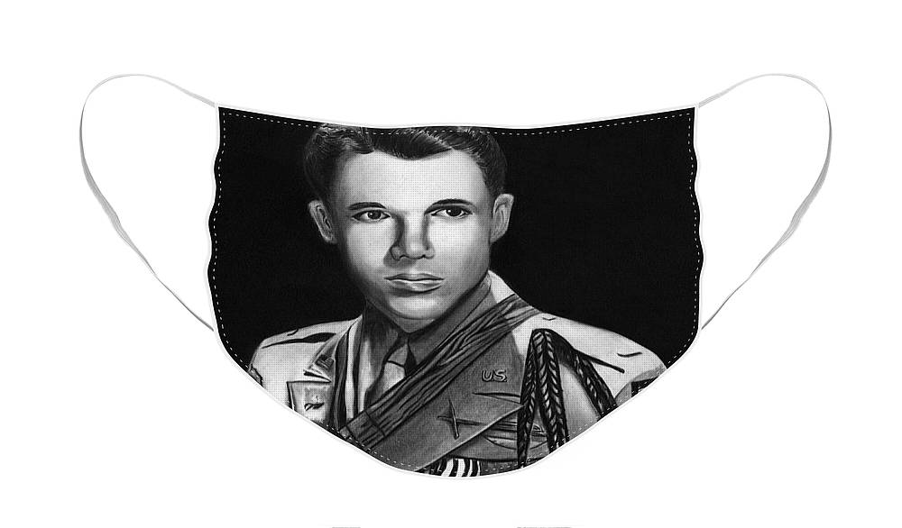 Audie Murphy Face Mask featuring the drawing Audie Murphy by Peter Piatt