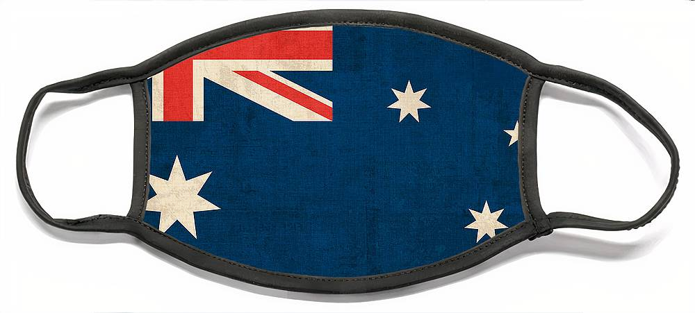 Australia Flag Vintage Distressed Finish Outback Australian Sydney Brisbane Pacific Continent Country Nation Australian Face Mask featuring the mixed media Australia Flag Vintage Distressed Finish by Design Turnpike