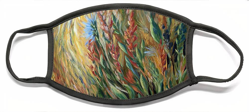 Autumn Floral Blooms Face Mask featuring the painting Autumn Bloom by Jo Smoley