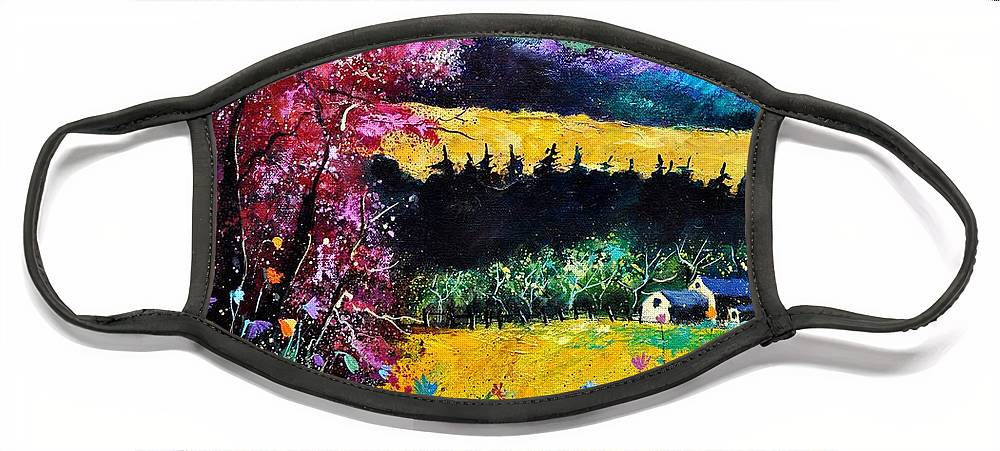 Landscape Face Mask featuring the painting Autumn flowers by Pol Ledent