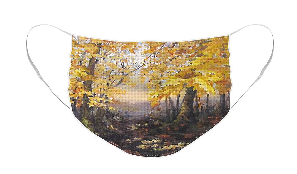 Acrylic Face Mask featuring the painting Autumn Forest by Karen Ilari