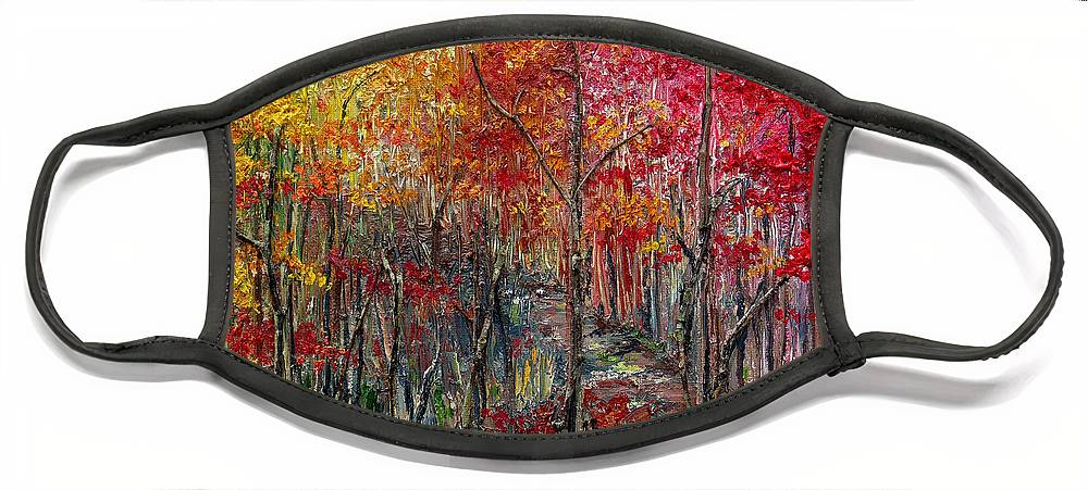 Autumn Face Mask featuring the painting Autumn In The Woods by Karin Dawn Kelshall- Best