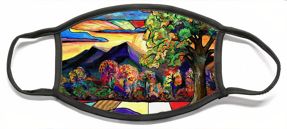 Everett Spruill Face Mask featuring the painting Autumn Sunrise by Everett Spruill