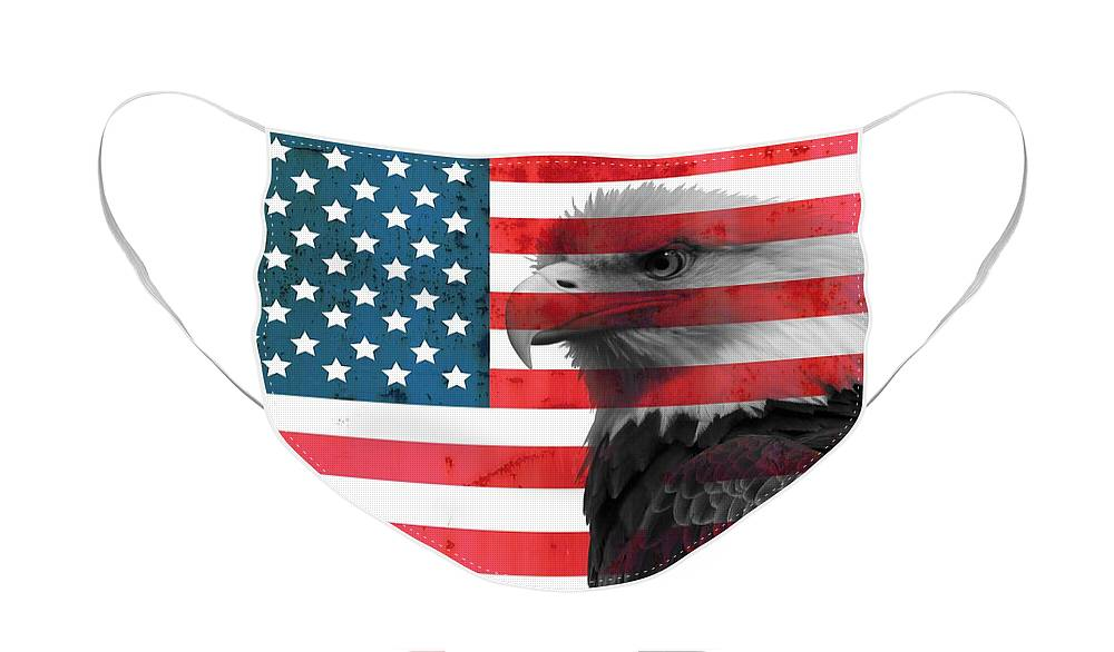 Bald Eagle American Flag Face Mask featuring the mixed media Bald Eagle American Flag by Dan Sproul