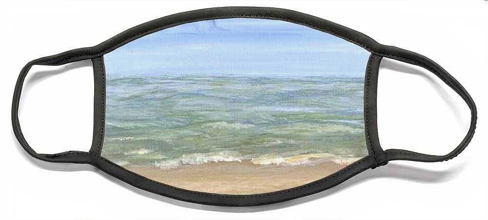 Beach Face Mask featuring the painting Beach by Sheila Mashaw
