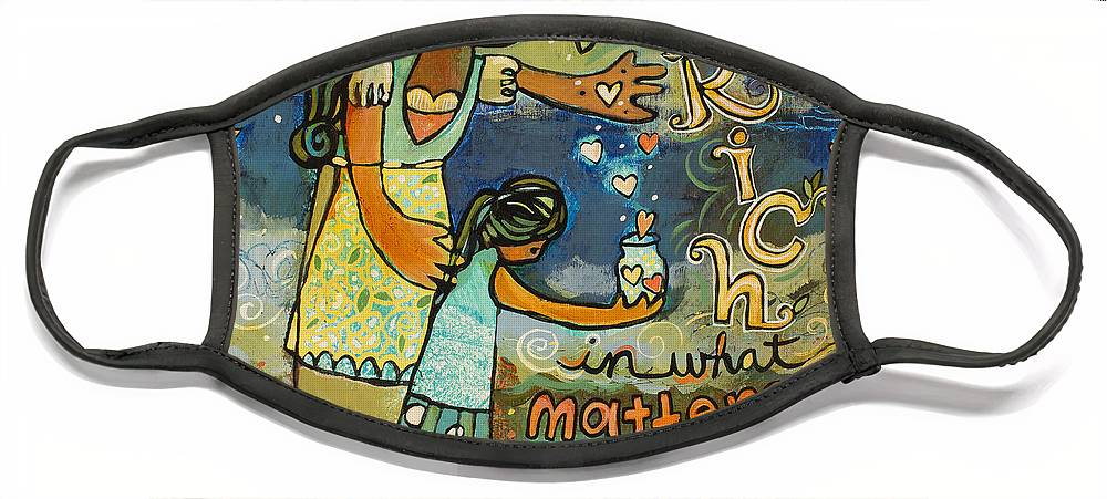 Jen Norton Face Mask featuring the painting Become Rich in what Matters to God by Jen Norton