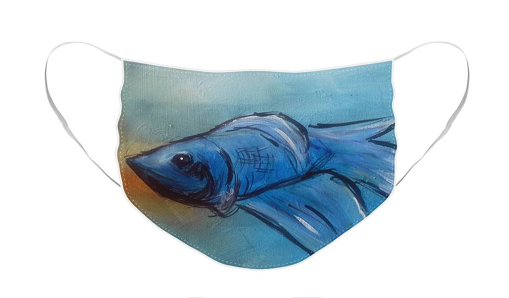 Betta Face Mask featuring the painting Betta by Loretta Nash
