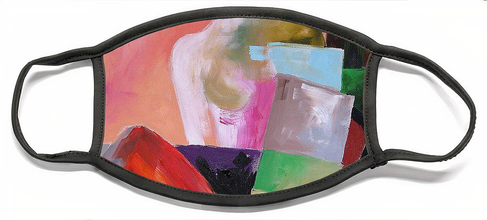 Art Face Mask featuring the painting Black Glove 2 by Linda Monfort
