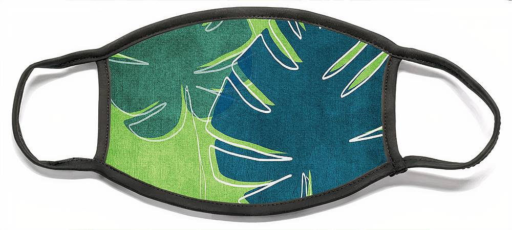 Palm Tree Face Mask featuring the painting Blue and Green Palm Leaves by Linda Woods