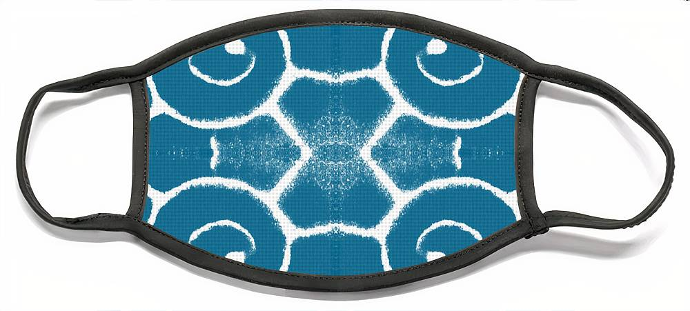 Wave Face Mask featuring the painting Blue and White Wave Tile- abstract art by Linda Woods
