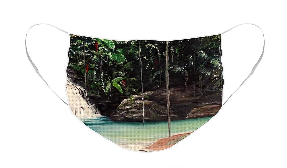 Tropical Waterfall Face Mask featuring the painting Blue Basin by Karin Dawn Kelshall- Best