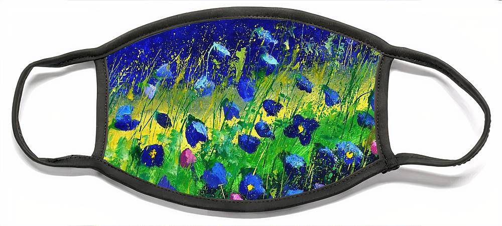 Landscape Face Mask featuring the painting Blue poppies 674190 by Pol Ledent