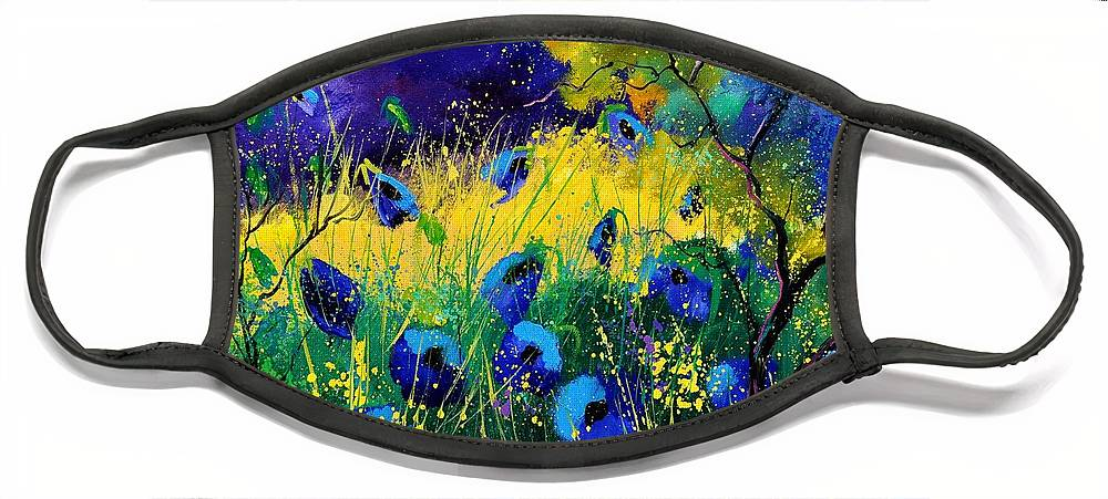 Landscape Face Mask featuring the painting Blue poppies 7741 by Pol Ledent