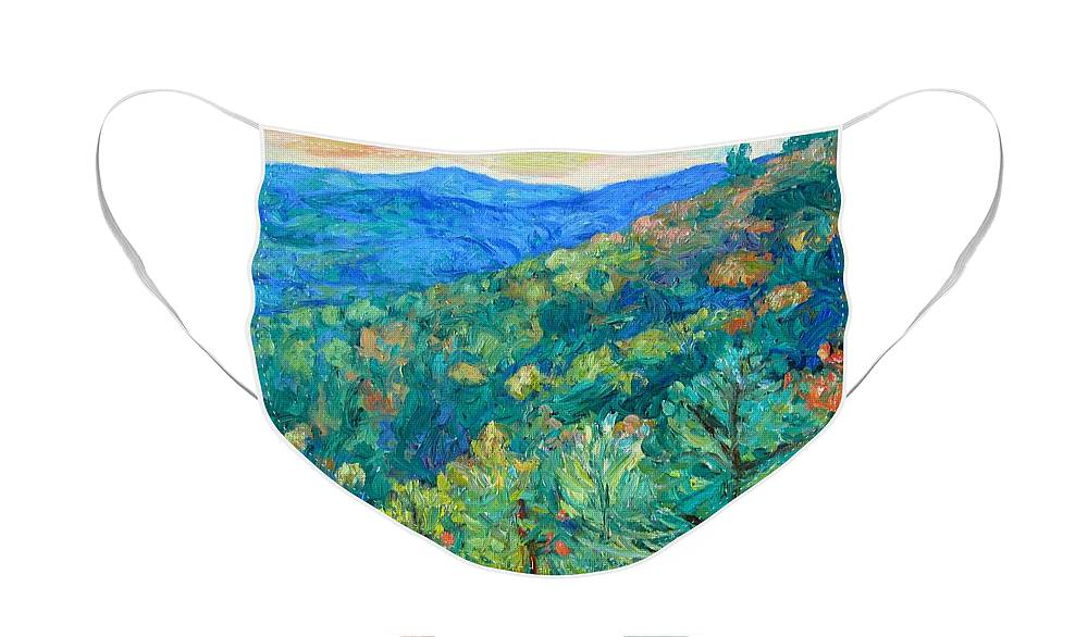 Blue Ridge Mountains Face Mask featuring the painting Blue Ridge Autumn by Kendall Kessler