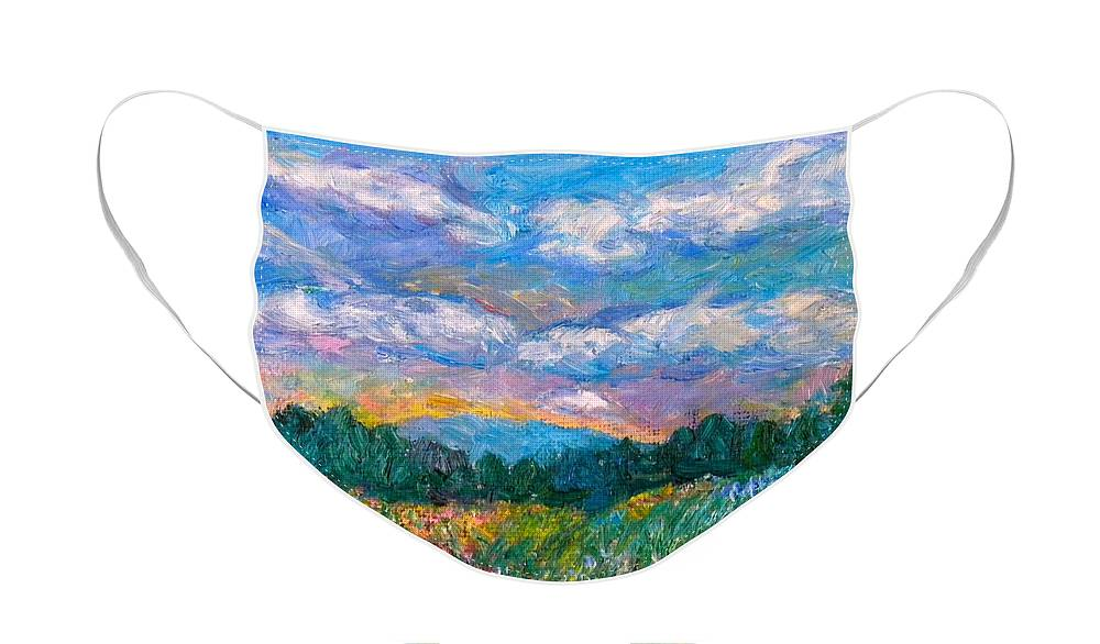 Landscape Face Mask featuring the painting Blue Ridge Wildflowers by Kendall Kessler