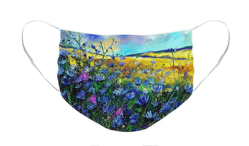 Flowers Face Mask featuring the painting Blue wild chicorees by Pol Ledent