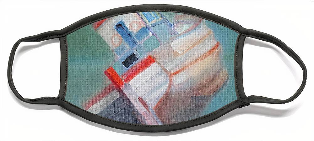 Fishing Boat Face Mask featuring the painting Boat Retired Tavira by Charles Stuart