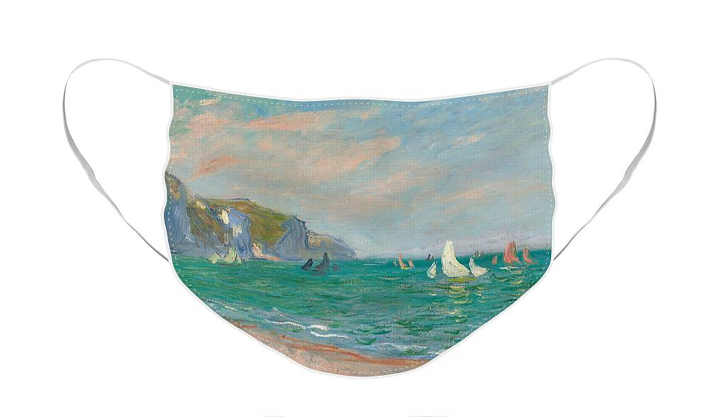 French Face Mask featuring the painting Boats Below the Pourville Cliffs by Claude Monet