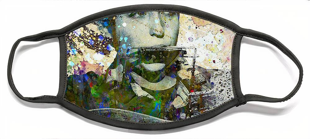 60s Face Mask featuring the painting Bob Dylan Original Painting Print by Ryan Rock Artist