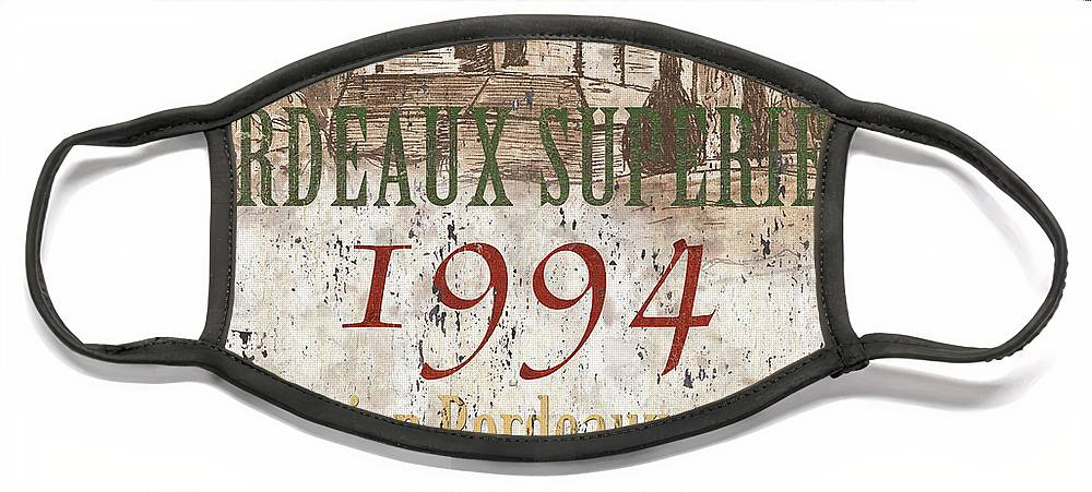 Wine Face Mask featuring the painting Bordeaux Blanc Label 2 by Debbie DeWitt