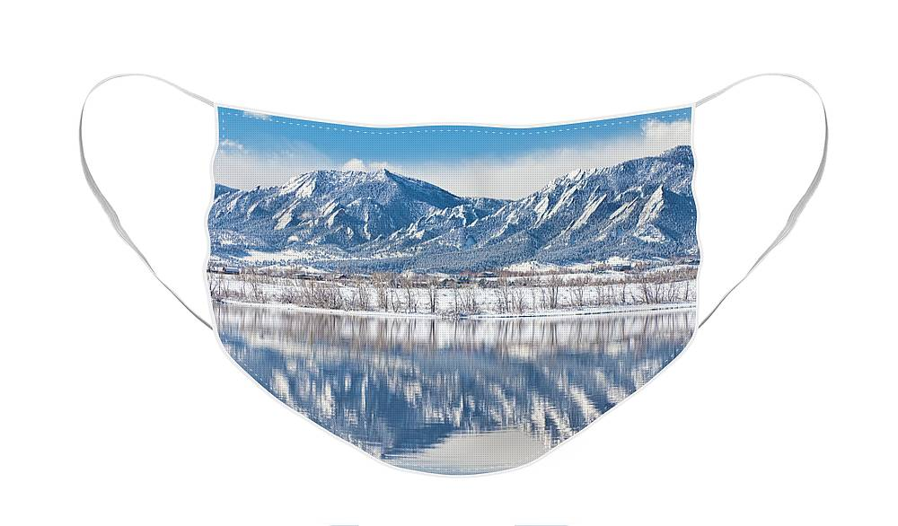 Winter Face Mask featuring the photograph Boulder Reservoir Flatirons Reflections Boulder Colorado by James BO Insogna