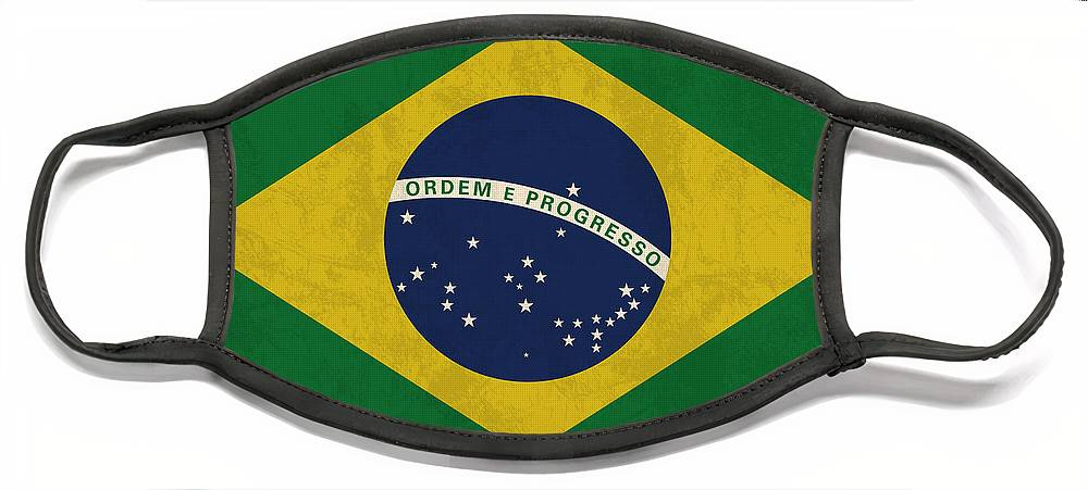 Brazil Flag Face Mask featuring the mixed media Brazil Flag Vintage Distressed Finish by Design Turnpike