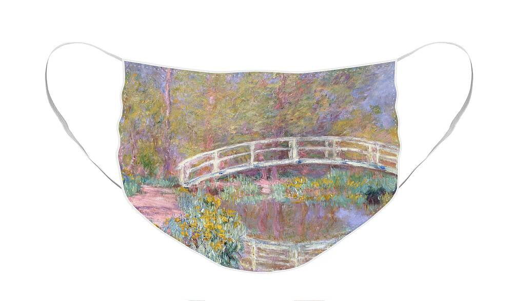 Monet Face Mask featuring the painting Bridge in Monet's Garden by Claude Monet
