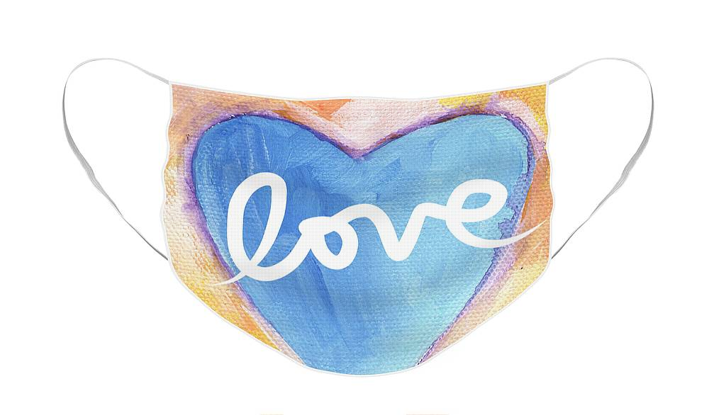 Love Face Mask featuring the painting Bright Love by Linda Woods
