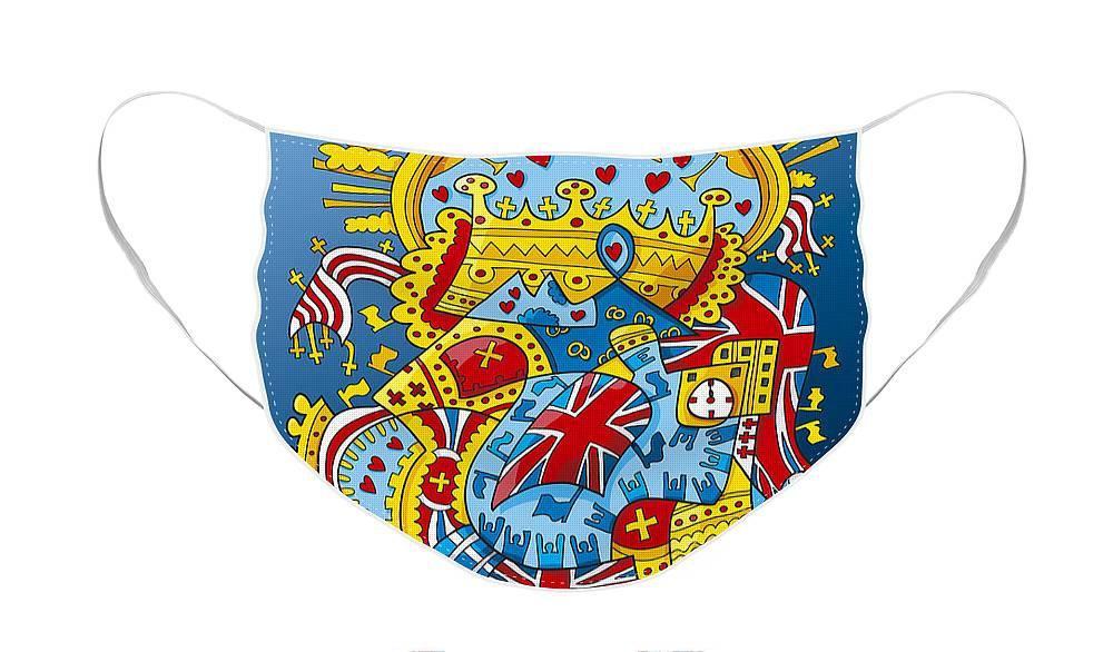 Frank Ramspott Face Mask featuring the digital art British Royal Ceremony Doodle by Frank Ramspott