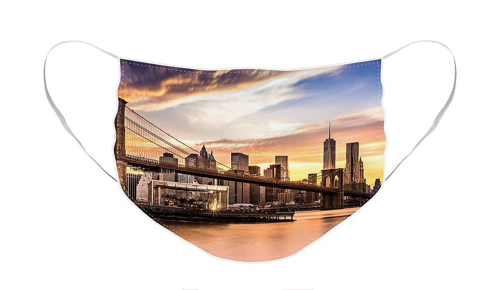 America Face Mask featuring the photograph Brooklyn Bridge at sunset by Mihai Andritoiu