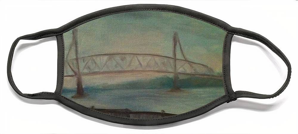 Bridge Face Mask featuring the painting Burlington Bristol Bridge by Sheila Mashaw