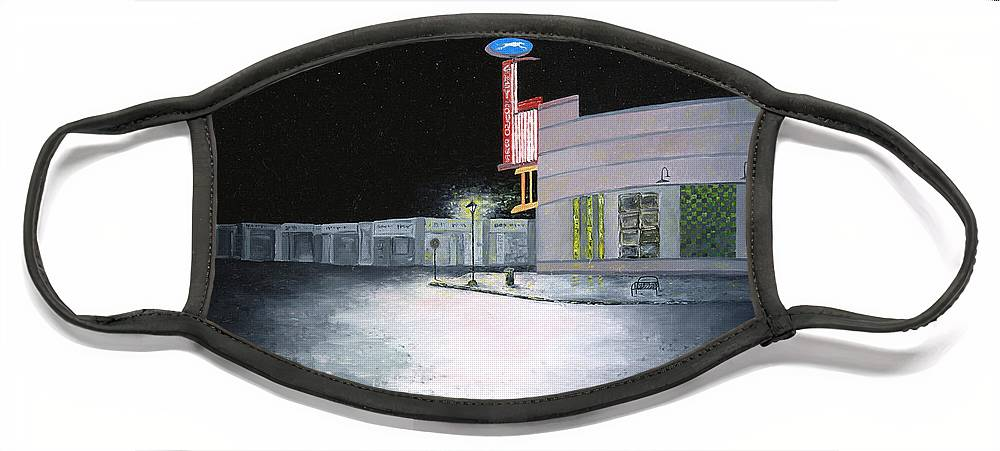 Greyhound Bus Station Face Mask featuring the painting Bus Stop Macon Georgia by Richard Barham