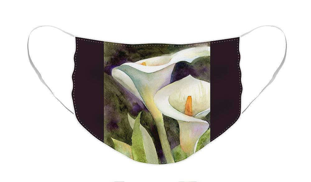 Zantedeschia Face Mask featuring the painting Calla Lilies by Amy Kirkpatrick