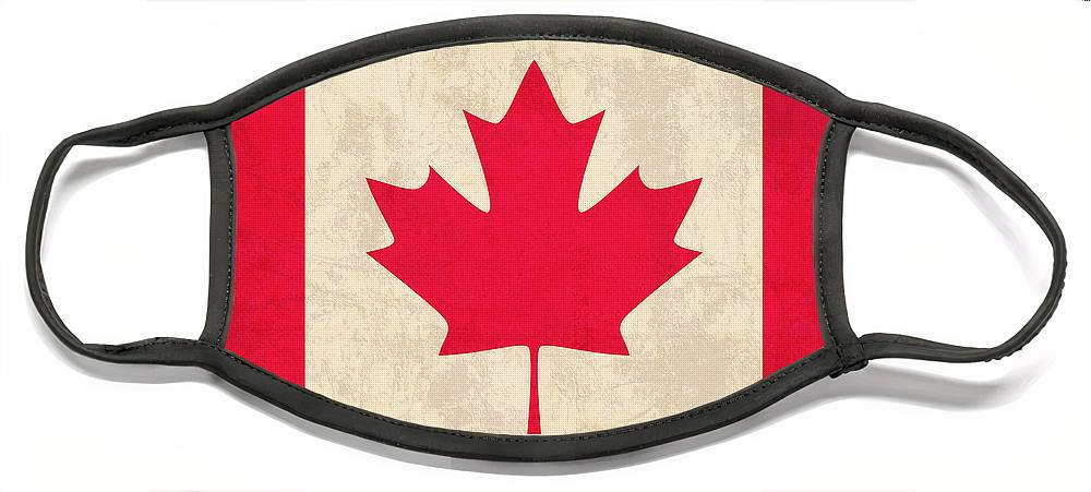 Canada Face Mask featuring the mixed media Canada Flag Vintage Distressed Finish by Design Turnpike
