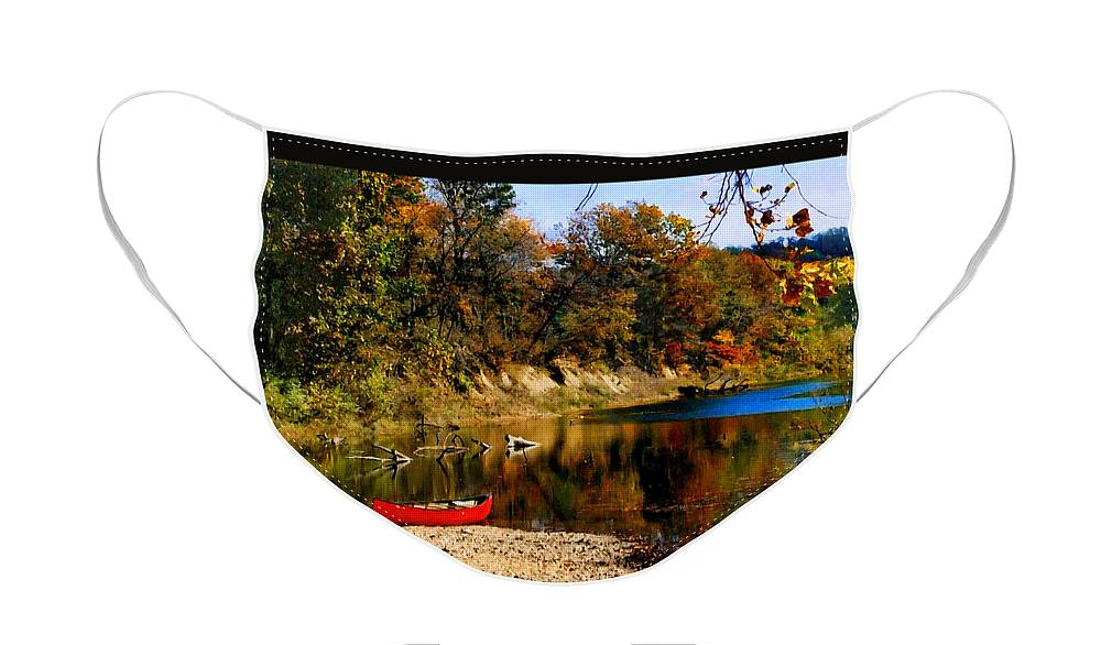 Autumn Face Mask featuring the photograph Canoe on the Gasconade River by Steve Karol