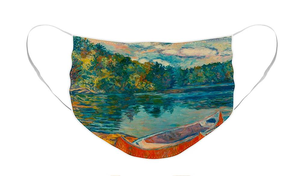 Landscape Face Mask featuring the painting Canoes at Mountain Lake by Kendall Kessler