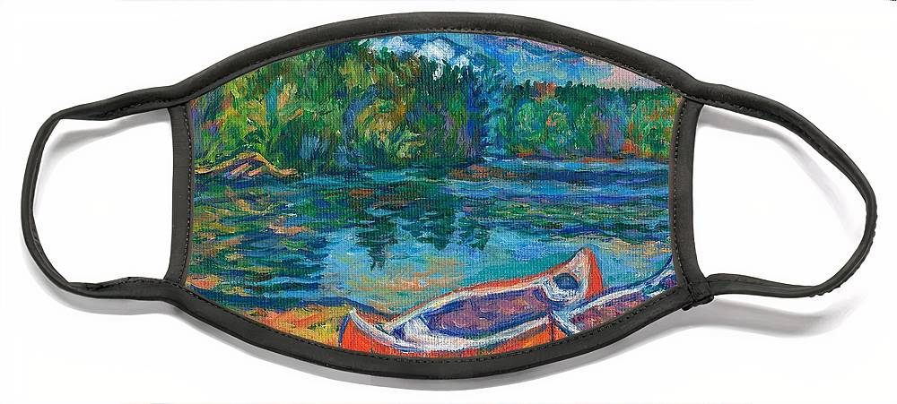 Landscape Face Mask featuring the painting Canoes at Mountain Lake Sketch by Kendall Kessler