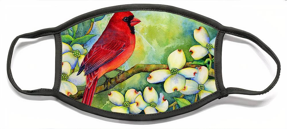 Cardinal Face Mask featuring the painting Cardinal on Dogwood by Hailey E Herrera
