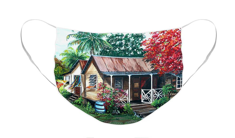 House Painting Caribbean Painting Tropical Painting West Indian Painting Old House Painting Flamboyant Tree Painting Poinciana Painting Red Painting Mango Tree Painting Watercolor Painting Greeting Card Painting Face Mask featuring the painting Caribbean Life by Karin Dawn Kelshall- Best