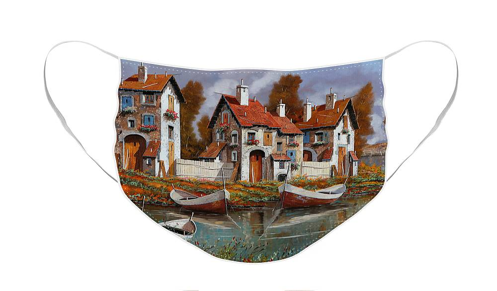 Village Face Mask featuring the painting Case A Cerchio by Guido Borelli